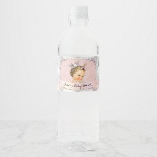 Princess Baby Girl Diamonds Pearls Blush Pink Water Bottle Label
