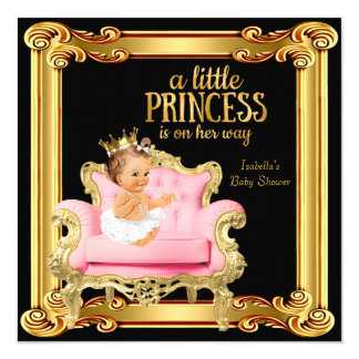 Princess Baby Shower Black Pink Gold Chair Card