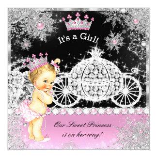 Princess Baby Shower Carriage Pink Black Blonde Card
