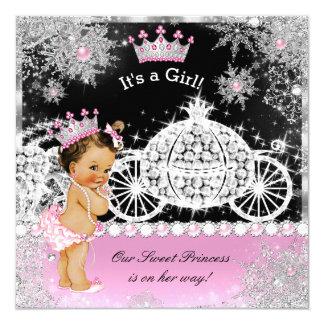 Princess Baby Shower Carriage Pink Black Brunette Card