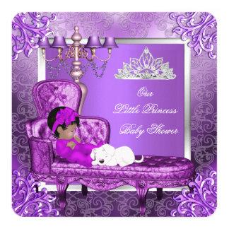 "Princess Baby Shower Cute Baby Girl Purple 5.25"" Square Invitation Card"