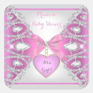 Princess Baby Shower Diamonds Baby Girl Pink Square Sticker