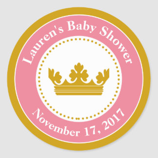 Princess Baby Shower Favor Stickers Pink Girl