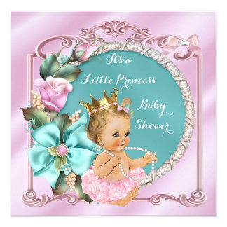 Princess Baby Shower Floral Teal Pink Blonde Baby Card