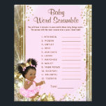 """Princess Baby Shower Games Flyer<br><div class=""""desc"""">Princess baby shower games with baby word scramble on one side, and nursery rhyme quiz on the other. This adorable pink and gold African American princess baby shower game flyer is fun and economical! You can add your own words and rhymes. Here are the answers to the games: Word Scramble...</div>"""