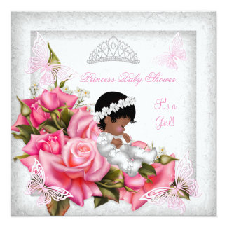 Princess Baby Shower Girl Butterfly Pink Rose 3 5.25x5.25 Square Paper Invitation Card