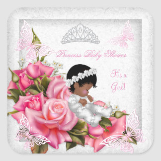Princess Baby Shower Girl Butterfly Pink Rose 3 Square Sticker