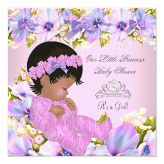 Princess Baby Shower Girl floral Pink Purple Card