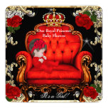 Princess Baby Shower Girl Gold Red Rose Chair 2 Invitation