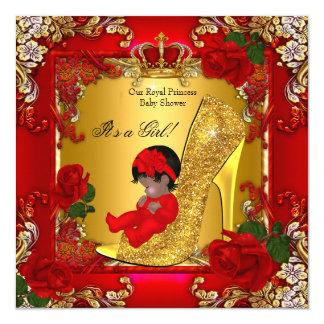 Princess Baby Shower Girl Gold Red Rose Hi Heel Card