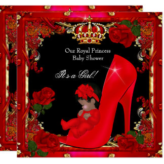 Princess Baby Shower Girl Gold Red Rose Shoe 2a Card