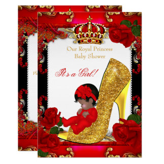 Princess Baby Shower Girl Gold Red Rose Shoe Card
