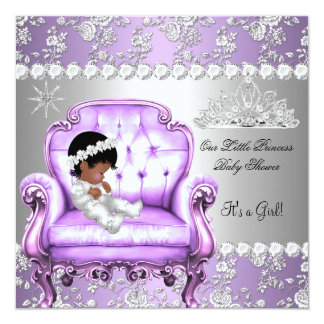 """Princess Baby Shower Girl Lavender Silver Chair 5.25"""" Square Invitation Card"""