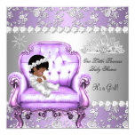 Princess Baby Shower Girl Lavender Silver Chair 5.25x5.25 Square Paper Invitation Card