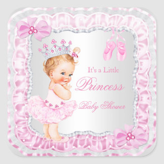 Princess Baby Shower Girl Pink Ballerina Blonde Square Sticker