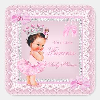 Princess Baby Shower Girl Pink Ballerina Brunette Square Sticker