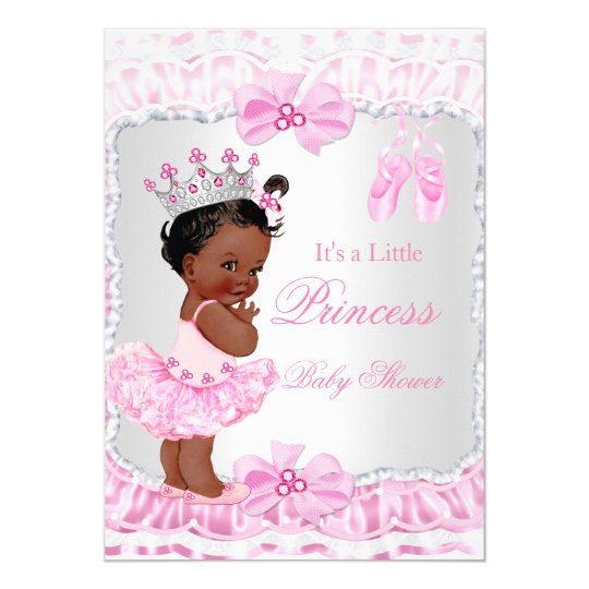 Princess Baby Shower Girl Pink Ballerina Ethnic Card Zazzle
