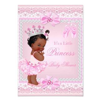 Princess Baby Shower Girl Pink Ballerina Ethnic Card