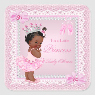 Princess Baby Shower Girl Pink Ballerina Ethnic Square Sticker
