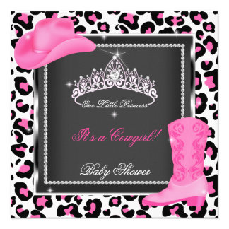 """Princess Baby Shower Girl Pink Cowgirl Tiara Cow 5.25"""" Square Invitation Card"""