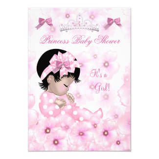 Princess Baby Shower Girl Pink Floral Asian Card