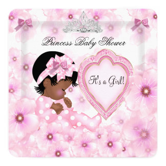 """Princess Baby Shower Girl Pink Floral Heart 5.25"""" Square Invitation Card"""