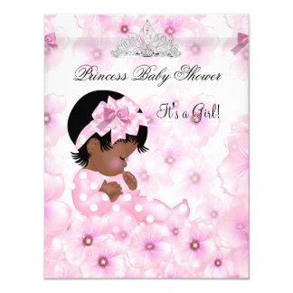 "Princess Baby Shower Girl Pink Floral Tiara 2 4.25"" X 5.5"" Invitation Card"