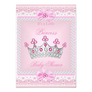 Princess Baby Shower Girl Pink Gem Silver Tiara Card