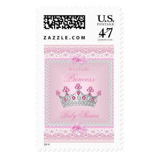 Princess Baby Shower Girl Pink Gem Silver Tiara Postage