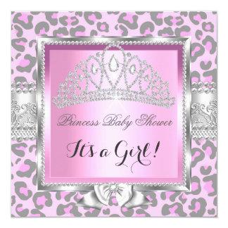 Princess Baby Shower Girl Pink Gray Leopard Card