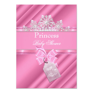 "Princess Baby Shower Girl Pink ""It's a Girl"" Personalized Announcements"