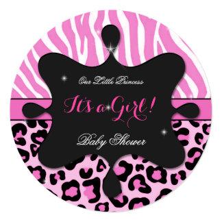 Princess Baby Shower Girl Pink Leopard Zebra 2 Card