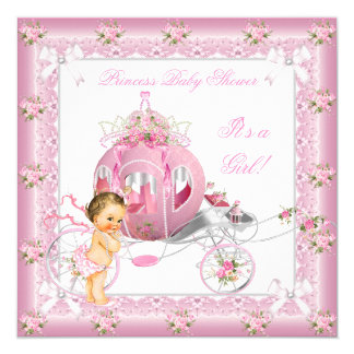 Princess Baby Shower Girl Pink Pearls Brunette Card