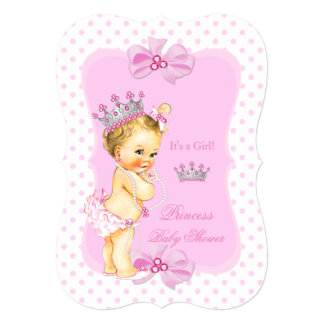 Princess Baby Shower Girl Pink Polka Dot Blonde Card