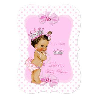 Princess Baby Shower Girl Pink Polka Dot Brunette Card