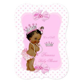Princess Baby Shower Girl Pink Polka Dot Ethnic Card
