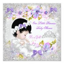Princess Baby Shower Girl Pink Purple Snowflake Card