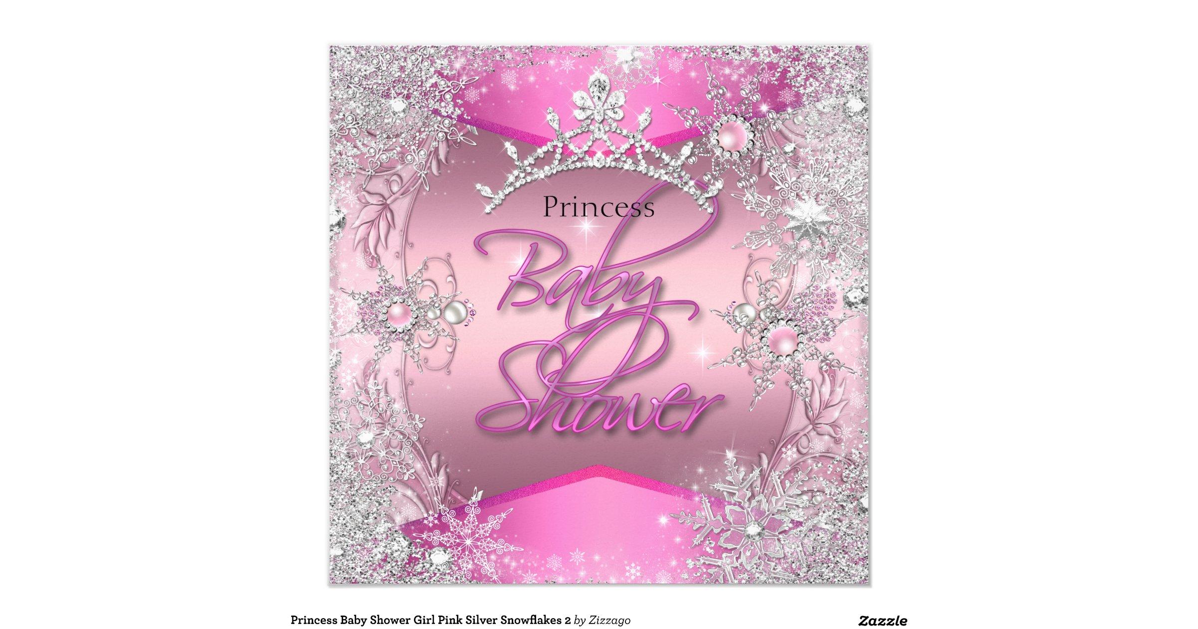 princess baby shower girl pink silver snowflakes 2 invitation