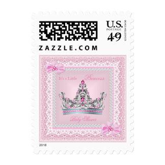 Princess Baby Shower Girl Pink Silver Tiara Postage Stamps
