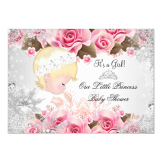 Princess Baby Shower Girl Pink Snowflake Roses 2 5x7 Paper Invitation Card
