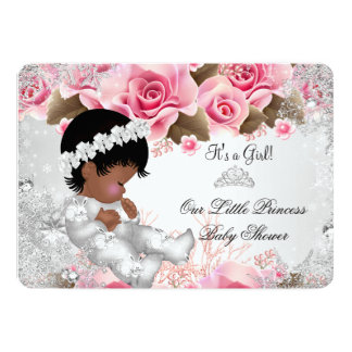 Princess Baby Shower Girl Pink Snowflake Roses Card