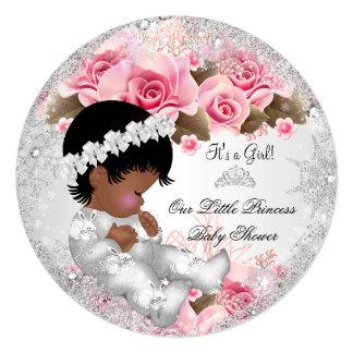 Princess Baby Shower Girl Pink Snowflake Roses R Card