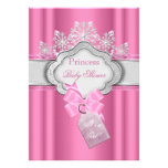 Princess Baby Shower Girl Pink Tiara Bow Personalized Invitations