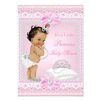 Princess Baby Shower Girl Pink Tiara Heart Brunett Card