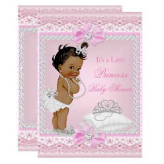 Princess Baby Shower Girl Pink Tiara Heart Ethnic Card