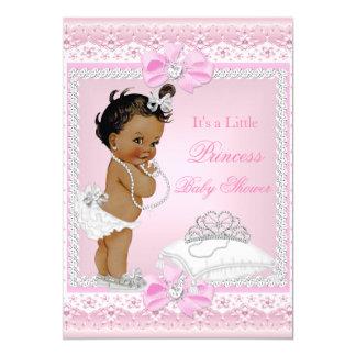 Princess Baby Shower Girl Pink Tiara Heart Ethnic Card