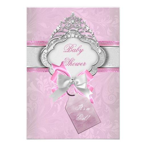 Princess Baby Shower Girl Pink Tiara Princess 2 Announcements