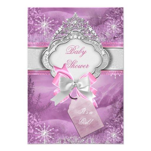 Princess Baby Shower Girl Pink Tiara Princess 3 Invites