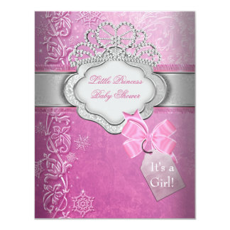 Princess Baby Shower Girl Pink Tiara Princess 4.25x5.5 Paper Invitation Card