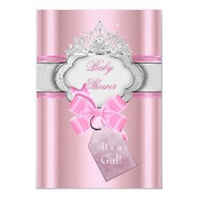Princess Baby Shower Girl Pink Tiara Princess 3.5x5 Paper Invitation Card